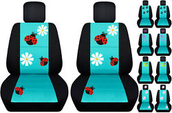 Front Car Seat Covers Black/turquoise Blue W/ladybugbutterfly Fits Vw Beetle