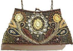 BRONZEGOLD BEADED PURSE sequins embellished clutch evening bag wallet small 1C
