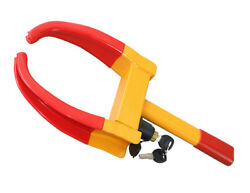 Universal Wheel Clamp Lock For Car Truck Trailer Atv Motorcycle Yellow/red