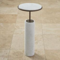 24.5 Tall Apple Table Solid White Marble Cylinder Base Solid Brass In Bronze