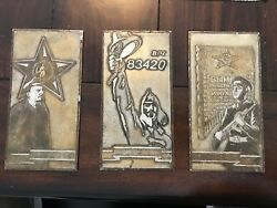 Soviet Russia Steel Plaques Not Replicas Antique Signs / Artifacts