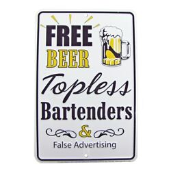 Free Beer Topless Bartenders Funny Tin Embossed Sign Bar Pub Man Cave Wall Decor