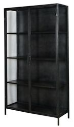 78 Tall Frediano Cabinet Iron Frame In Gunmetal 2 Door 4 Shelves Glass Panels