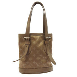 AUTH LOUIS VUITTON LITTLE BUCKET HAND BAG BEIGE MONOGRAM SATIN M92145 AK21661b