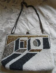 Delill (Vintage) BlackWhiteGoldSilver Art Deco DesignHand Beaded Shoulder Bag