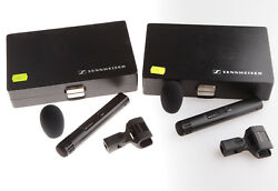 Matched PAIR SENNHEISER MKH-40 Condenser Microphones Cardioid MKH40 +Clips+Cases