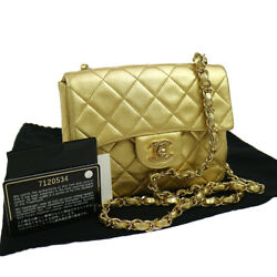 Authentic CHANEL Quilted Chain Shoulder Bag Gold Leather VTG EXCELLENT GS00542