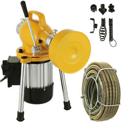 3/4 4 Sectional Pipe Drain Auger Cleaner Machine Snake Sewer Clog W/ Cutter