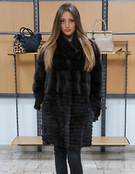 gray mink coat lights with horizontal machining and round neck