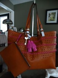 NWT FOSSIL RACHEL PERFORATED TOTEWRISTLET $278.00