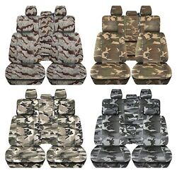Truck Seat Covers Fits 2015-2018 Ford F150 Camouflage Design Front And Rear