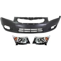 Bumper Cover Kit For 2011-2014 Chevrolet Cruze Front With Fog Light Holes 3pc