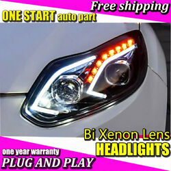 For Ford Focus 2012-2014 Headlights Bi-Xenon Lens HID KIT LED DRL Head Lamps