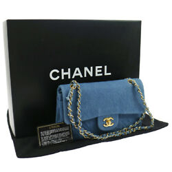 Authentic CHANEL Double Flap Quilted Chain Shoulder Bag Denim GOOD N00738