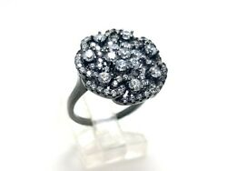 925 Sterling Silver Gun Metal Handmade White Zircon Womenand039s Ring Size 7.25 Usa