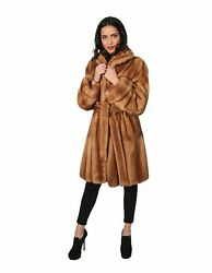 MINK FUR COAT WOMAN WITH GOLDEN CLASSIC NECK AND NECK INSERT BRAID