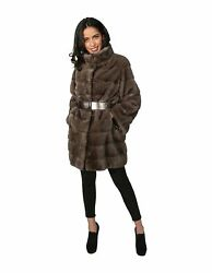 MINK FUR COAT WOMAN WITH GREY LEATHER BELT AND NECK AND KOREAN Lavoraz horizonta