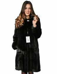 WOMEN'S FUR COAT MINK SKIN WHOLE NECK LARGE CAP AND BUTTON STRASS