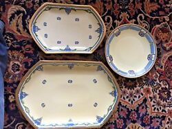 Rare Antique Mz Austria China Flowered 2 Serving Platters And Limoge Dish