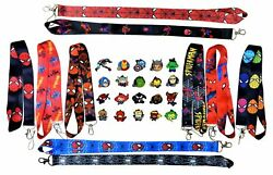 Marvel Spiderman Lanyard Set w 5 Themed Disney Park Trading Pins ~ Brand NEW