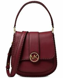 NWT Michael Kors LILLIE Stitched Messenger Crossbody Bag In OXBLOOD Leather $398