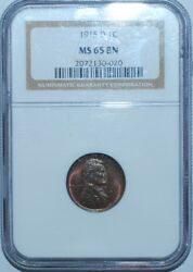 1915 D Ngc Ms65bn Brown Lincoln Wheat Penny Cent