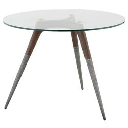 39.5 Wide Bar Side Table Tempered Glass Top French Oak Frame Aluminum Legs