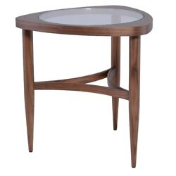 21 Tall Side Table Inset Tempered Glass Top Solid Walnut Frame Nautical Design