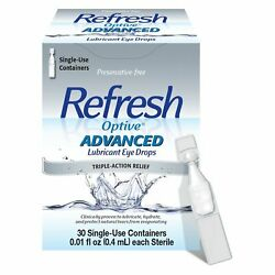 Refresh Optive Advanced Lubricant Eye Drops Triple Action Relief 30 Ct...
