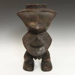 Kuba Ceremonial Mbwoongntey Cup Carved Wood D. R. Of Congo Central Africa 20th C