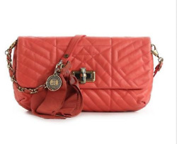 New LANVIN HAPPY Leather Quilted Cross body Handbag Bag
