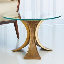 28 Dia. Ari End Table Glass Top Antique Gold Bronze Elegantly Curved Legs