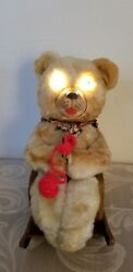 1950's Knitting Mother Bear Battery Operated Tin Litho Modern Toys Japan