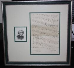 Roger B. Taney Chief Justice Of Supreme Court Framed Autograph Letter - Signed