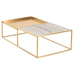 55.3 L Coffee Table Brushed Steel Frame Square Basin Inlaid Marble Counterpart