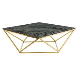 36 W Coffee Table Wood Vein Solid Marble Top Geometric Stainless Steel Base