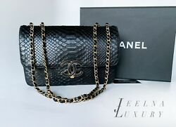Auth Chanel Black 2018 Python Medium Double Flap Bag $7800 *Excellent*