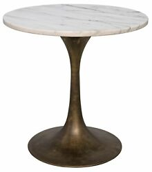 20 T Set Of 2 Side Table Night Stand Industrial Brass Base Solid Marble Top 59