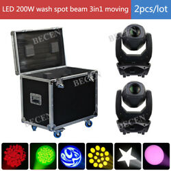 2pcs 200W Spot Beam Wash 3in1 Led Moving Head Light for stage party +fly case