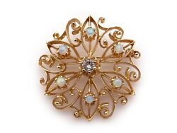 14k Yellow Gold .25ct Diamond Multi Color Opal Circle Flower Brooch Pin Pendant