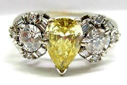 Antique Ladies Diamond 14kt White Gold Engagement Ring 1950and039s