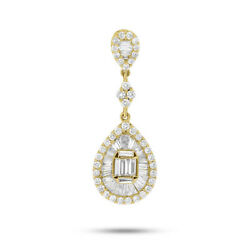 1.40 Ct 18k Yellow Gold Baguette Round Teardrop Pear Pendant Necklace With Chain