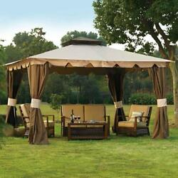 10x12 ft. Outdoor Patio Garden Gazebo Shade w Mosquito Netting & Privacy Panels