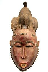 Art African First - Antique Mask Of Mblo Baoule - Billiards Ball Mask - 39,5 Cms