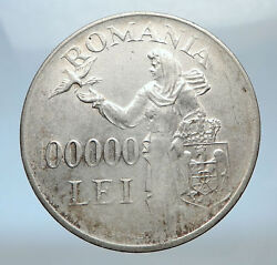 1946 Romania Under Michael I W Romanian Lady And Bird Silver Vintage Coin I73817