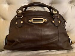 New Designer Jimmy Choo Chocolate Brown Leather Bowler Bag $900.00