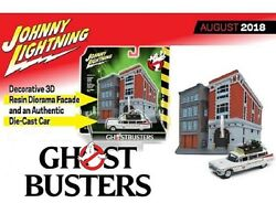 Johnny Lightning Ghostbusters Firehouse Diorama And 1/64 Ecto-1 1959 Cadillac