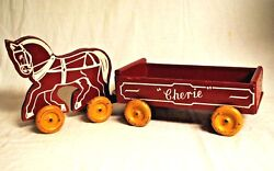 Childs Horse Drawn Toy Wagon - Wood W/metal Wheels - 1940's-50's