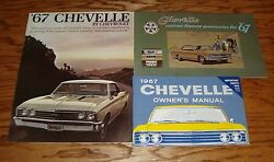 1967 Chevrolet Chevelle Owners Manual Accessories Sales Brochure Lot Of 3 67