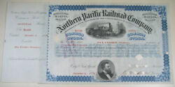 1876 Northern Pacific Railroad Stock Certficate Jay Cooke Signed Exc/nr Mint
